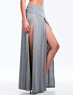 Jupes Aux femmes Maxi Sexy/Maxi Polyester/Mélanges de Coton Micro-élastique