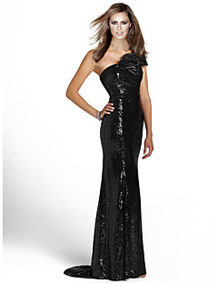 Formal Evening Dress - Black Sheath/Column One Shoulder Floor-length Sequined