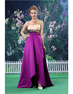 Formal Evening Dress - Regency A-line Jewel Asymmetrical Organza/Satin