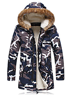 Uonuode Man'S Camouflage Long Section Plus Thick Velvet Male Couple Padded Jacket Fur Collar Coat