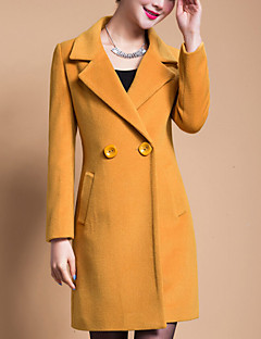 Women's Plus Size Coat,Solid Shirt Collar Long Sleeve Winter Blue / Black / Yellow Wool / Others Thick