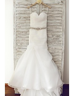 Trumpet / Mermaid Wedding Dress Sweep / Brush Train Sweetheart Organza with Beading / Ruche