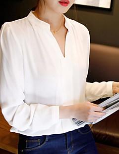 Langærmet V-hals Medium Dame Hvid Ensfarvet Efterår Simpel Afslappet/Hverdag Skjorte