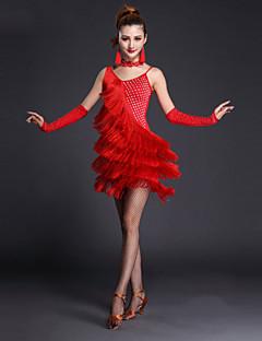 Latin Dansı Elbiseler Kadın's Performans Polyester Likra 4 Parça Kolsuz Kısa Kol Yüksek Elbise Eldivenler Neckwear