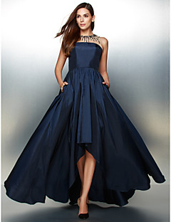 TS Couture Formal Evening Dress - Ink Blue A-line Jewel Asymmetrical Taffeta