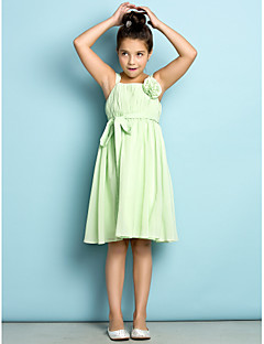 Lanting Bride® Knee-length Chiffon Junior Bridesmaid Dress - Mini Me A-line Straps with Draping / Flower(s)