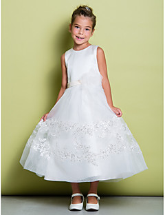 A-line Ankle-length Flower Girl Dress - Lace / Satin Sleeveless Jewel with Flower(s) / Lace