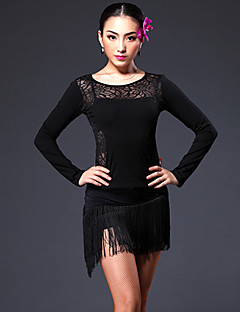 Latin Dance Outfits Women's Performance / Training Chinlon / Spandex / Lace Lace / Tassel(s) 2 Pieces(Top&Skirt)