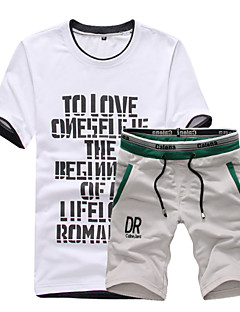 Men's Short Sleeve Set,Cotton Letter