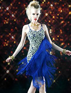 여성용 - 라틴댄스 - 드레스 ( 블랙 / 로얄 블루 , 폴리에스터 , 술 )