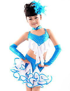 Latin Dance Outfits Children's Performance Cotton / Spandex / Polyester Ruffles 5 Pieces Lake Blue Latin Dance / SambaSpring, Fall,