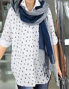 Women's Print Blue / White Blouse , Shirt Collar Long Sleeve