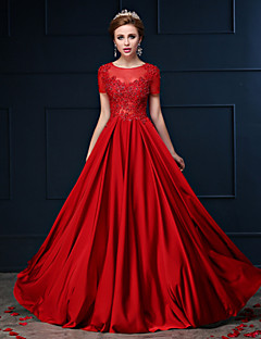 A-linje Juvel Dress - Rød Gulvlengde Blonde / Charmeuse