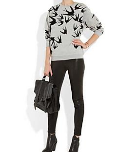 Women's Print Gray Hoodies , Print / Plus Sizes Round Neck Long Sleeve