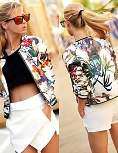 perfect Women's Print Multi-color Coats & Jackets , Sexy / Casual / Work Round Long Sleeve