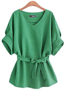 Damen Solide Einfach Lässig/Alltäglich Bluse,V-Ausschnitt Sommer ½ Länge Ärmel Mehrfarbig Baumwolle Undurchsichtig