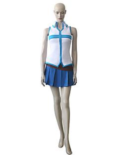 Innoittamana Keijuhäntä Lucy Heartfilia Anime Cosplay Puvut Cosplay Puvut Patchwork Sininen Hihaton Toppi / Hame / Vyö