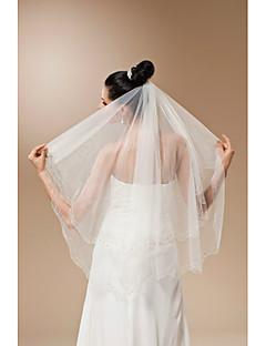 Bride Wedding Veil Two-tier Handmade Beaded Fingertip Veils Beaded Edge