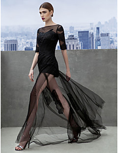 Formal Evening Dress A-line Bateau Court Train Tulle