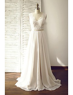 A-line Wedding Dress - Champagne Court Train V-neck Chiffon / Lace