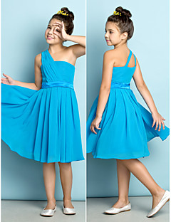 Knee-length Chiffon Junior Bridesmaid Dress - Ocean Blue A-line One Shoulder