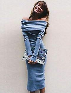 De las mujeres Corte Bodycon Vestido Sexy Un Color Midi Escote Barco Mezclas de Algodón