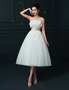 A-line Wedding Dress - Ruby / White Tea-length Strapless Lace / Satin