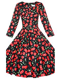 婦人向け スクエアネック フロントクロス ドレス , コットン 膝丈 七部袖