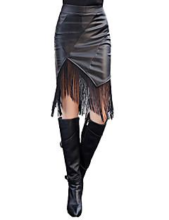 Women PU Leather Skirt Empire Elastic Waist Tassel Bodycon Sexy Pencil Skirt