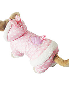Dog Coat / Hoodie Pink / Beige Dog Clothes Winter Polka Dots Cosplay