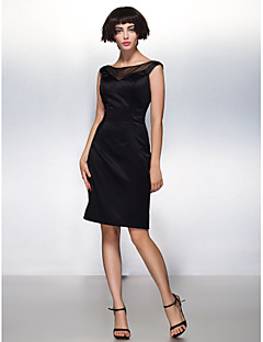 TS Couture Cocktail Party Dress - Black Sheath/Column Scoop Knee-length Satin