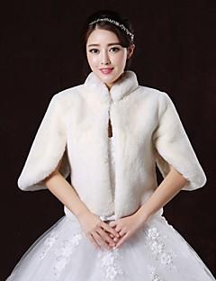 Fur Wraps / Wedding  Wraps Coats/Jackets Half-Sleeve Faux Fur White Wedding / Party/Evening High Neck Button Clasp