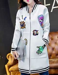 Women's Print White / Black Jackets , Casual Stand Long Sleeve