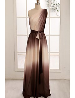 Formeller Abend Kleid - Braun Chiffon - A-Linie - bodenlang - 1-Schulter