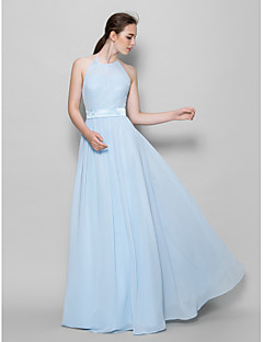 Lanting Bride® Floor-length Chiffon Bridesmaid Dress A-line Halter with