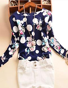 Tee-shirt Femme,Imprimé Décontracté / Quotidien Grandes Tailles simple Automne Manches Longues Col Arrondi Blanc Polyester Moyen
