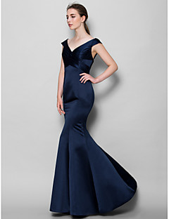 Lanting Bride® Floor-length Satin Bridesmaid Dress Trumpet / Mermaid V-neck with Criss Cross