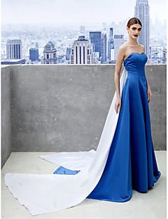 저녁 정장파티 드레스 - 로얄 블루 A라인 채플 트레인 스위트하트 사틴