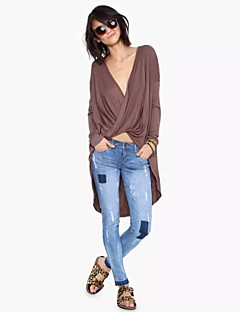 Women's Sexy Deep V Solid Color Cross Dovetail Cape Sleeve Blouse
