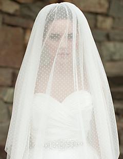 Wedding Wave Point Veil Three-tier Fingertip Veils Cut Edge