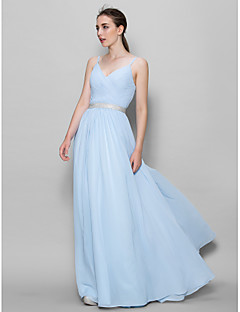 Lanting Bride® Floor-length Chiffon Bridesmaid Dress - A-line Straps with Criss Cross
