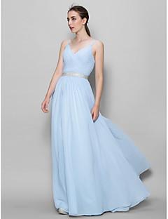 Lanting Bride® עד הריצפה שיפון שמלה לשושבינה - גזרת A רצועות עם בד בהצלבה