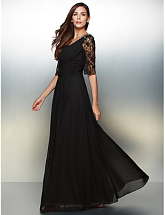 Formal Evening Dress - Black A-line Scoop Floor-length Chiffon / Lace