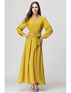 Women's Solid Blue / Red / Black / Yellow / Beige Dress , Sexy Round Neck Long Sleeve