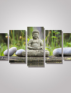 5 Panels Buddha Statue Religious Picture Print on Canvas Unframed