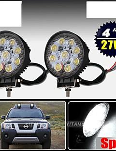 2 x 27W plats arbete LED-ljus bar runt lampan offroad suv bil båt lastbil 12v 24v