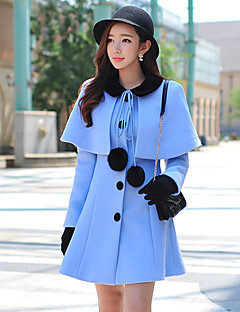 DABUWAWA Women's Casual OL Fashion Shirt Collar Long Sleeve Wool Coats