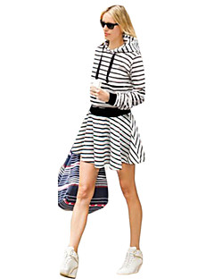 Women's Casual/Daily / Plus Size Dress,Striped Hooded Above Knee Long Sleeve Blue / Black Cotton Fall Micro-elastic Opaque