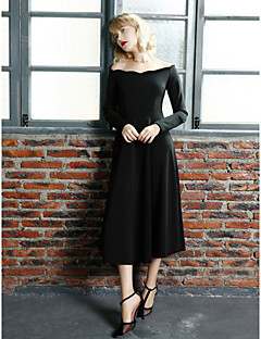 A-line Mother of the Bride Dress - Black Tea-length Long Sleeve Jersey