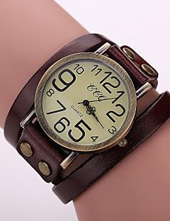 Damen Modeuhr Armband-Uhr Quartz Leder Band Vintage Schwarz Weiß Blau Rot Orange Braun Grün Kaffee Braun Rot Grün Blau